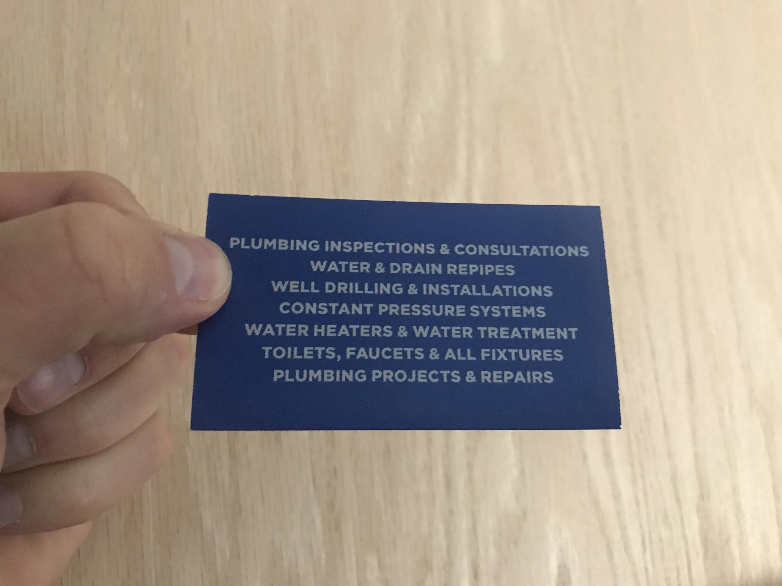 Blue Collar Plumbing Business Card Back