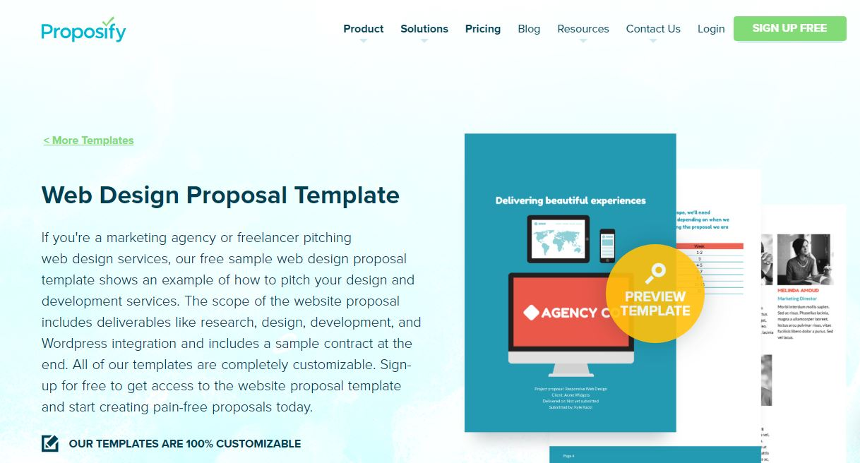 Proposify website templates