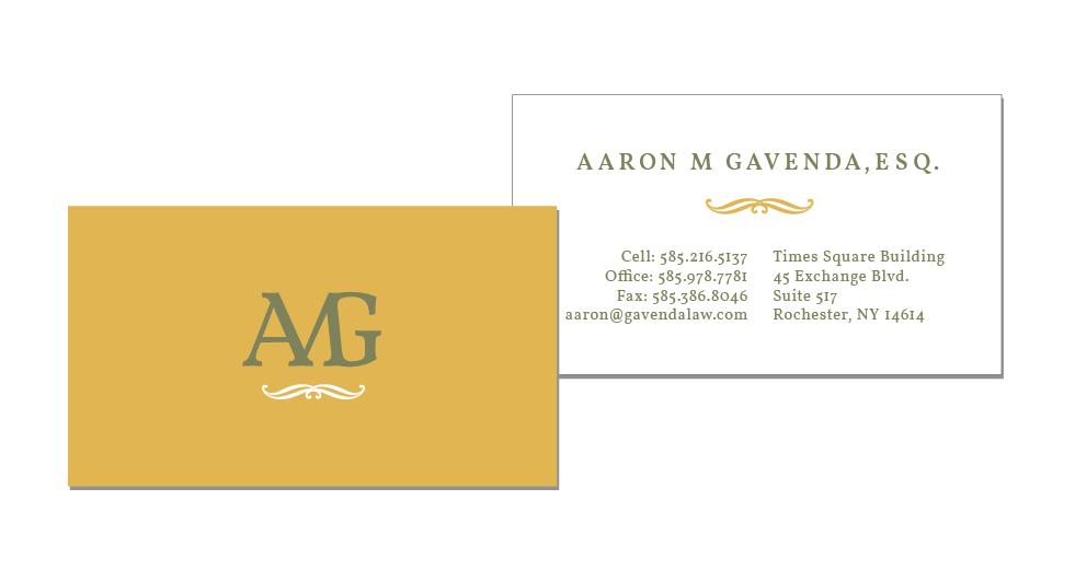 AMG aka Aaron M Gavenda, ESQ. business cards