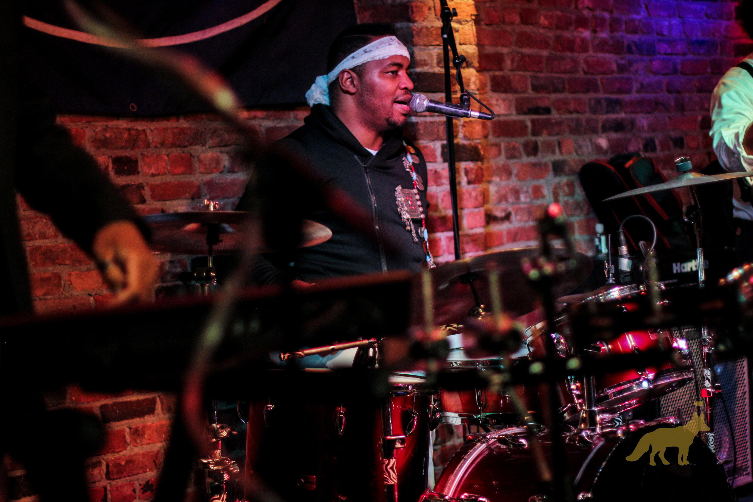Lou Hill getting down on the drums at The Bitter End. Photo courtesy of Kevin Vallejos.