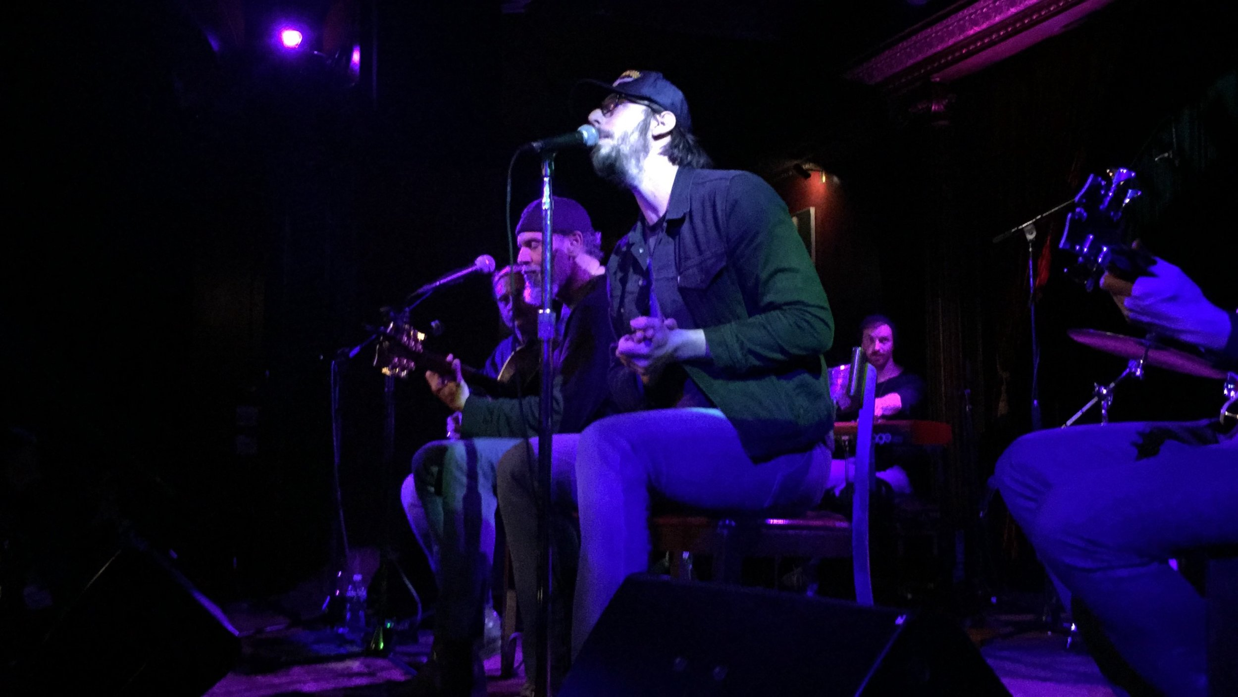 "Bruce Sudano (far-left) and Mike Montali (right) performing Tracy Chapman's ""Talkin' Bout a Revolution"" at The Cutting Room."