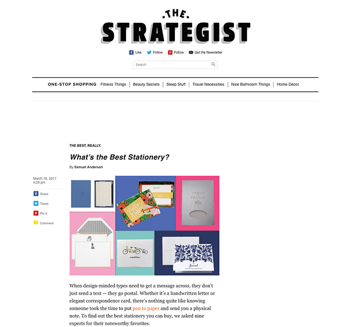NY Magazine/the strategist - In 2016, I was nominated as a noteworthy (pun intended) Stationer for my Tandem Bike Baby Card but also for my custom stationery.Please follow the link below for the full article.