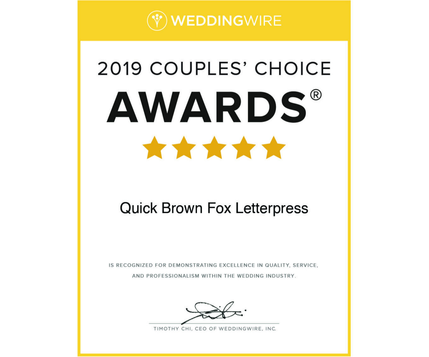 2019 Wedding wire couples' choice award - For reviews, please visit me at my Wedding Wire site: https://www.weddingwire.com/biz/quick-brown-fox-letterpress-brooklyn/e8aa8e4e4f6d63b7.html