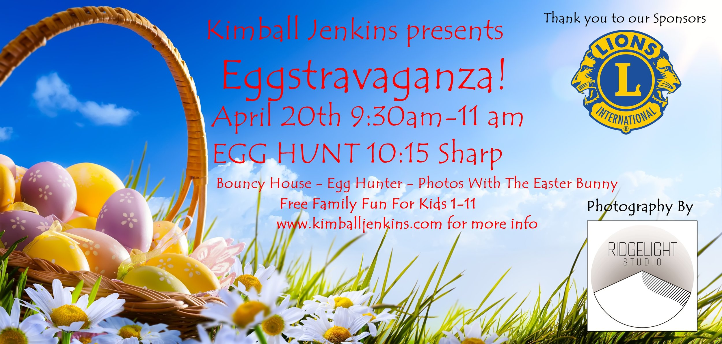 Photos With The Easter Bunny  Bouncy House  Easter Egg Hunt On The Lawn 10:15 SHARP  Free Family Fun for Ages 1-11