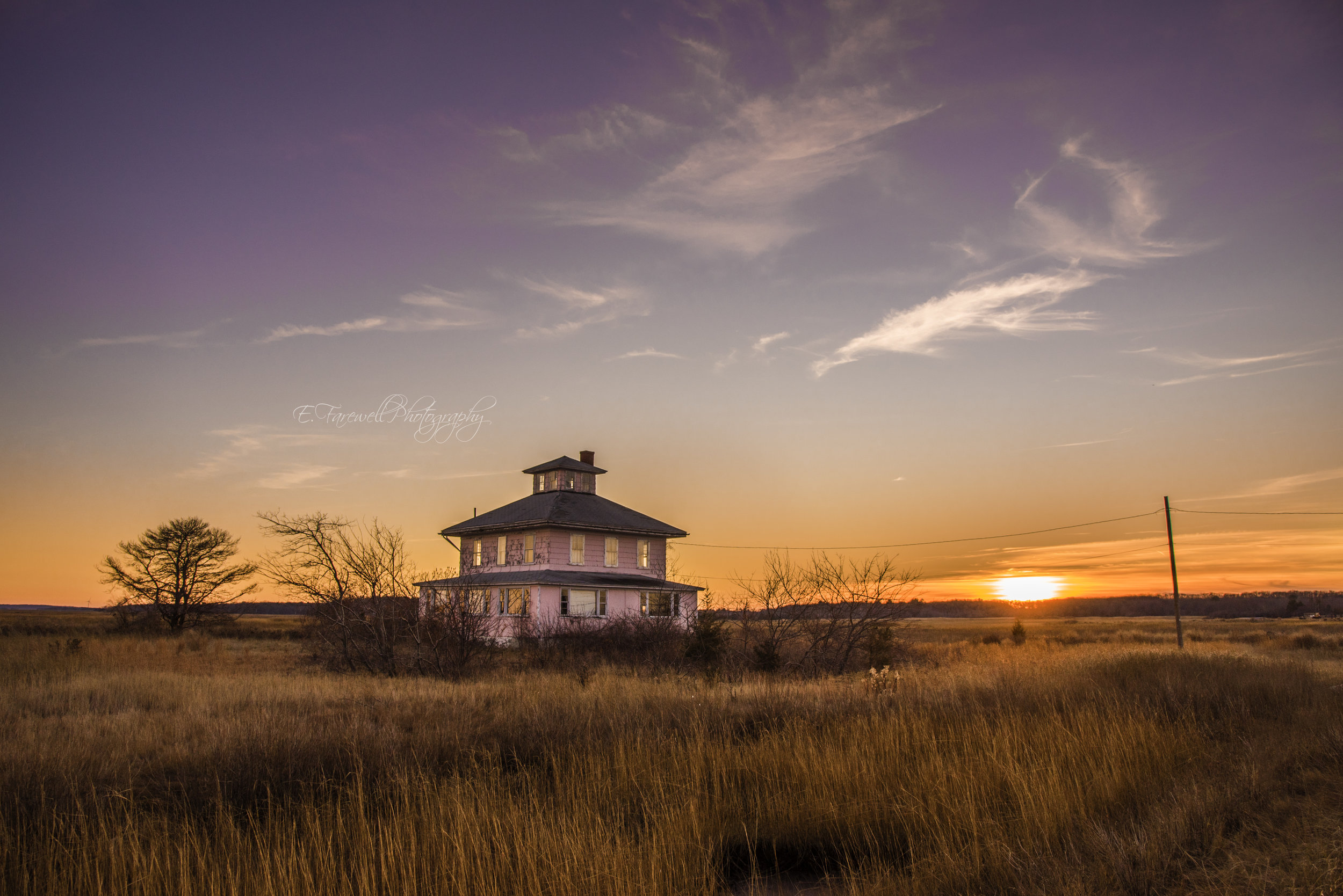Pink House Plum Island Sunset - Emily Farewell