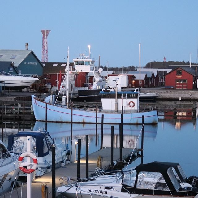 🐋⛵️ Now the fishing boat and the small ferry is back in the harbor. Have you seen the water is like a mirror - love my view for my flat above the restaurant. And tomorrow I am off - love it😄 good night  #fishingboat #halshavn #havn #harbor #kattegat#limfjord #smukaften #liveterdejligt