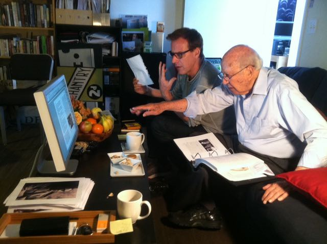 """Carl Reiner & Lawrence O'Flahavan discuss the layout for Carl's iBook experience on his new memoir... which will have embedded video, music and photos. The ultimate entertainment memoir... """"Working with Carl has redefined my idea of aging, laughter it seems is his daily medicine. He makes 90 look like 60."""" -Lawrence O'Flahavan"""