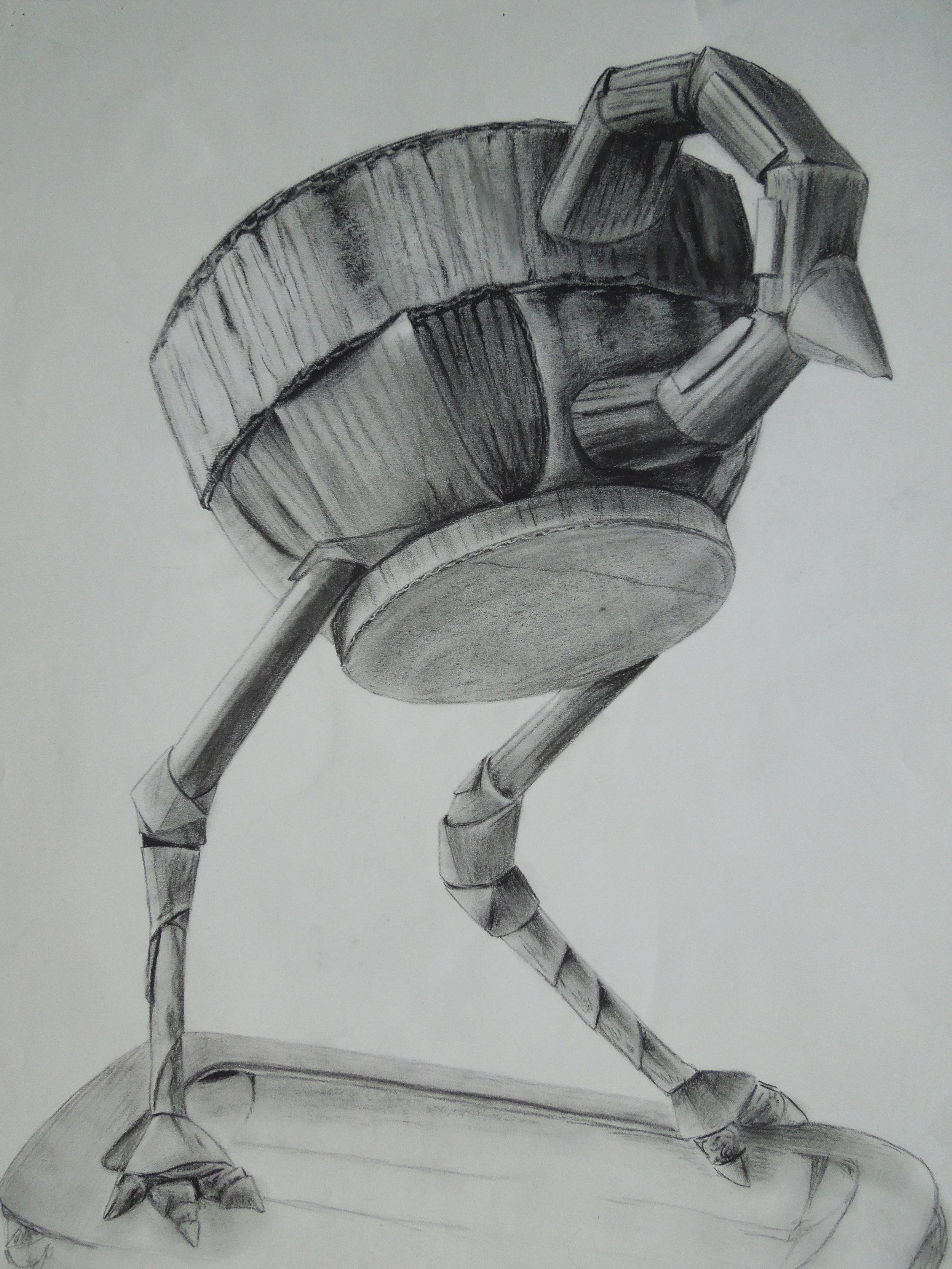 "Tea Bird Study #3  18""x24"", Charcoal, 2014"