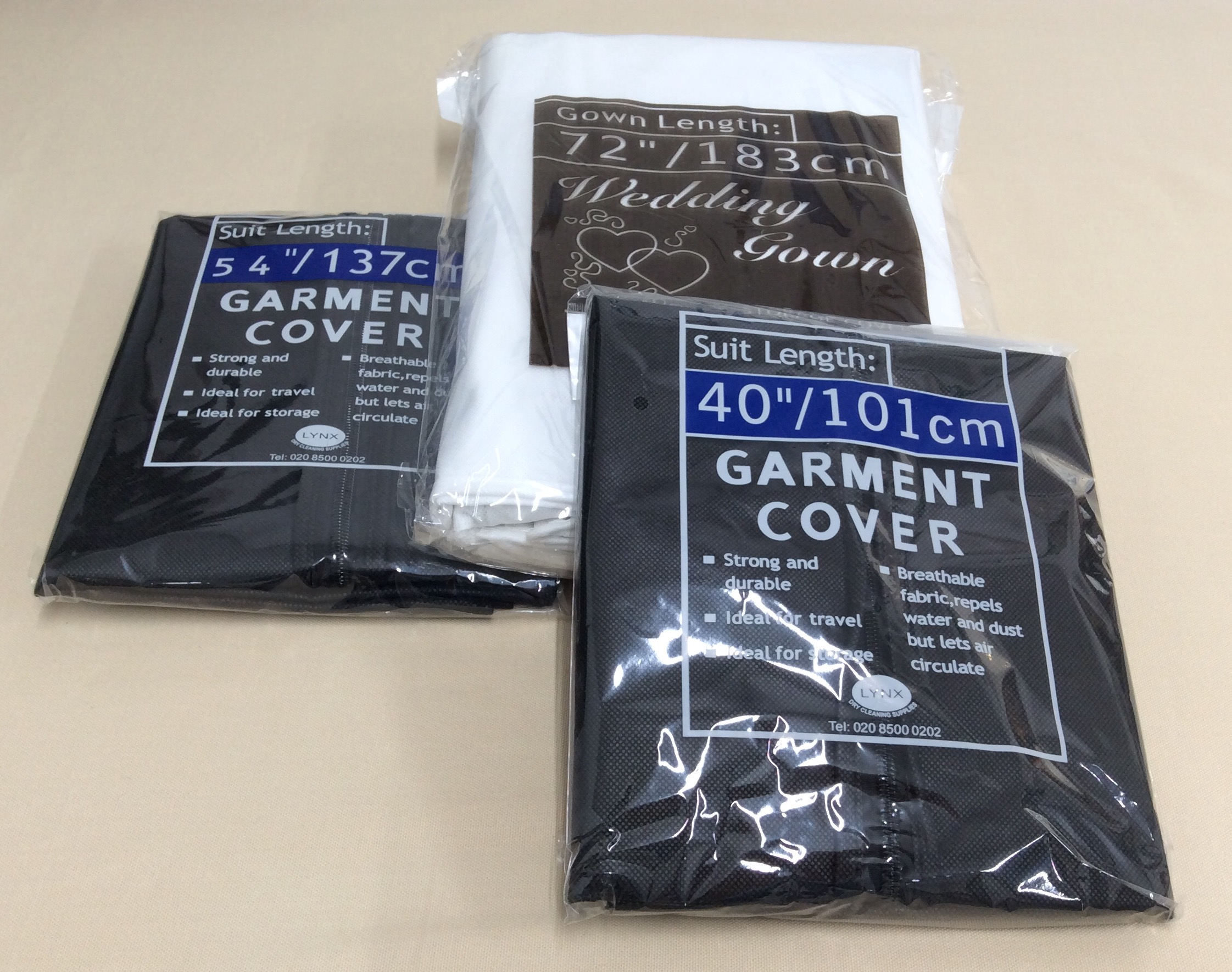 GARMENT COVERS  Suitable for suits, dresses, full length gowns and wedding dresses.