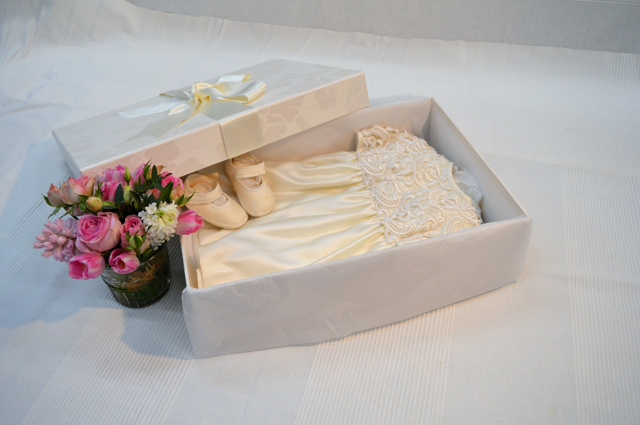 Christening gown & shoes.