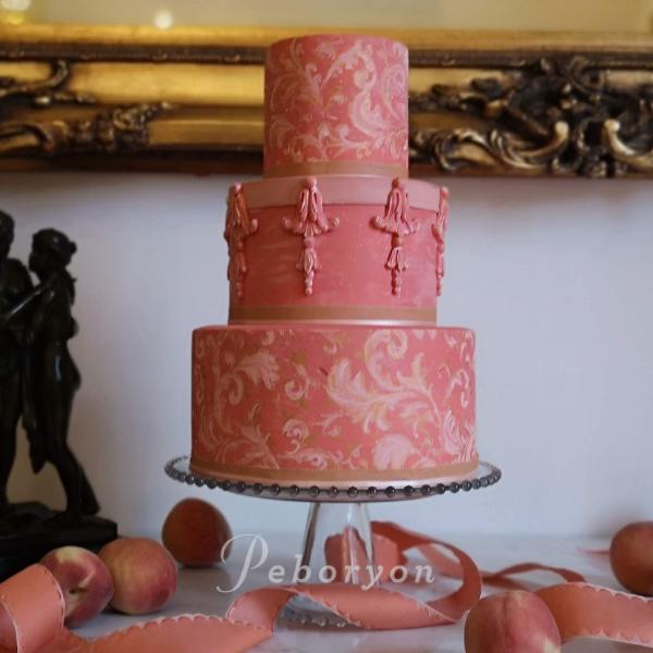 phil_jensen_christine_jensen_peboryon_cornwall_wedding_cake_pink_rococo_pentillie_castle.png