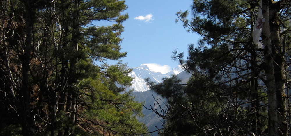 The first glimpse of Everest through the trees while walking towards Namche Bazaar