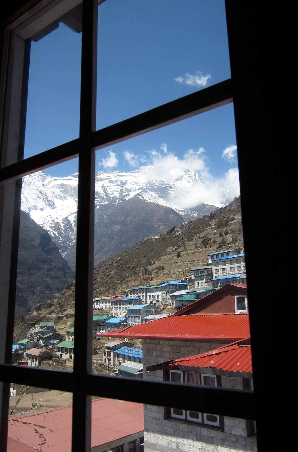 View out the hotel window at Namche