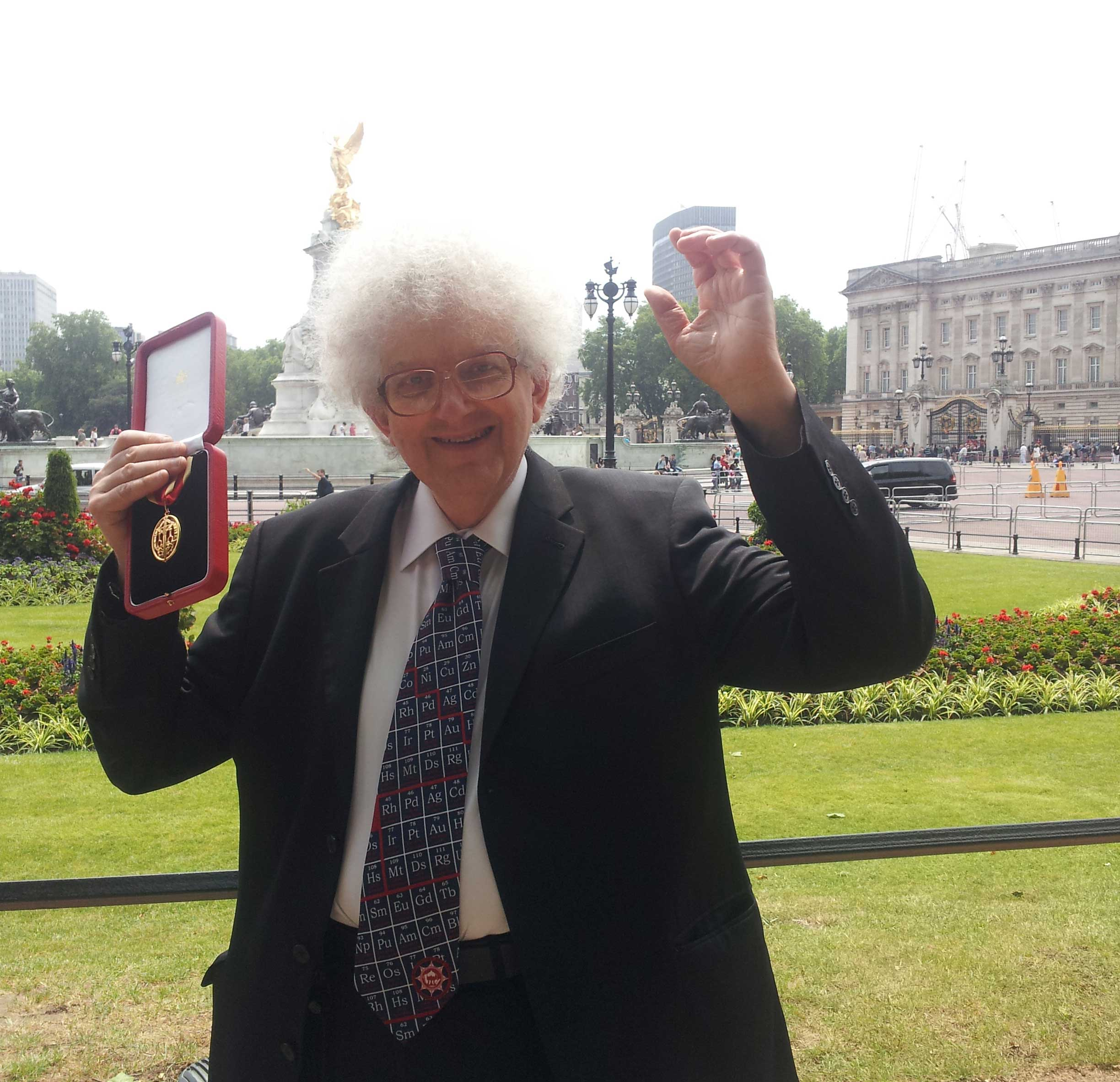 Outside the palace with his medal... Pic by The Prof's daughter!