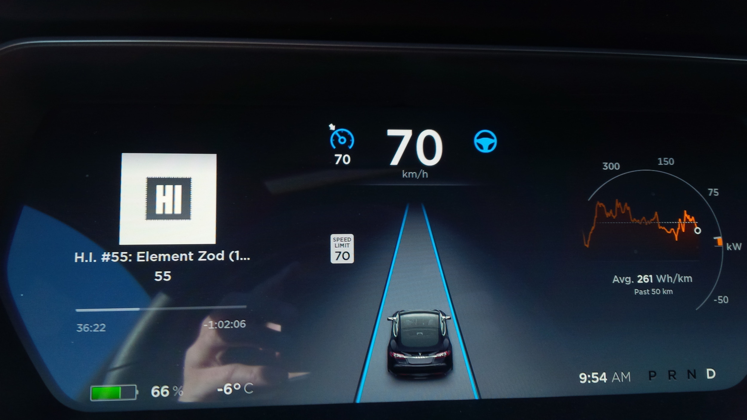 Grant tests the autopilot in his Tesla