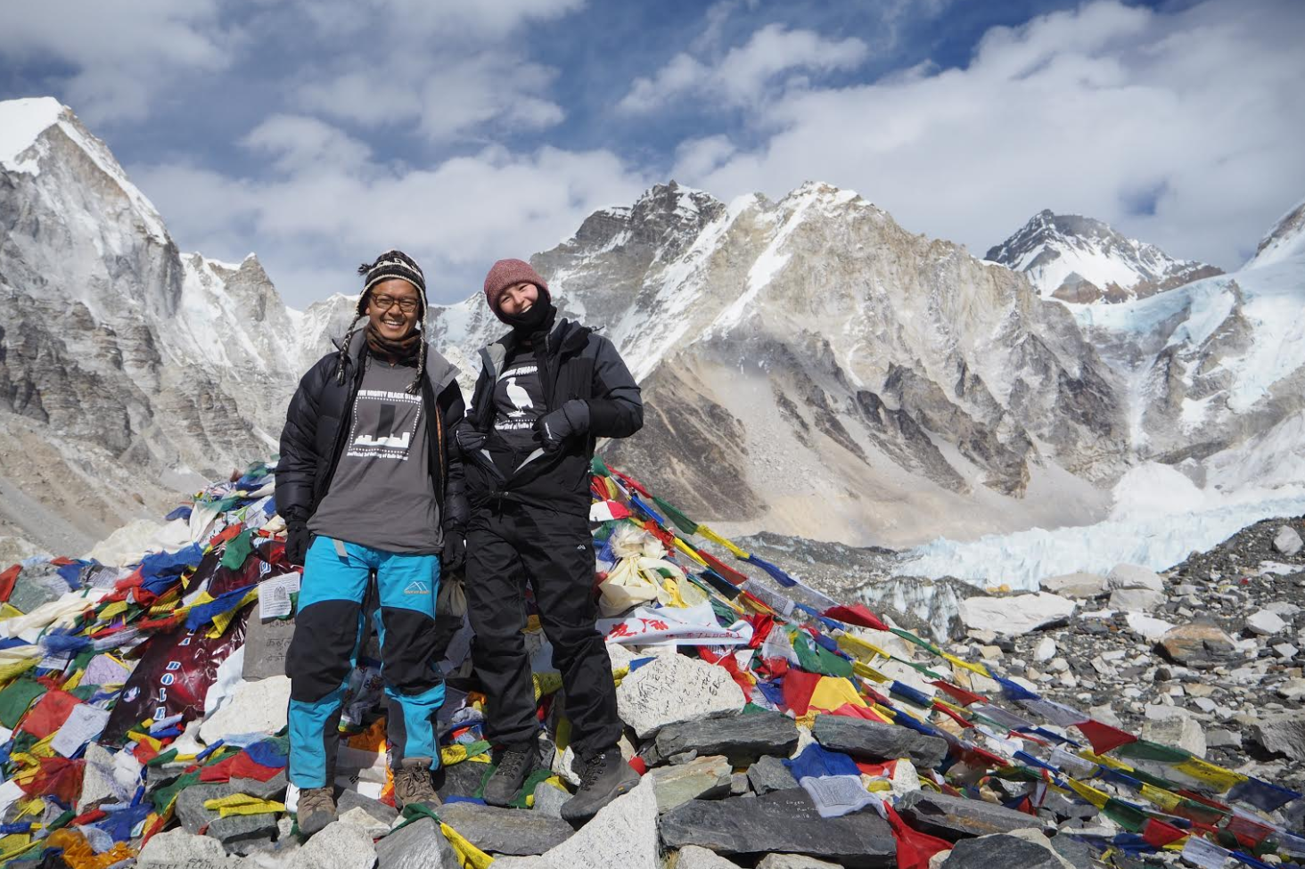 David and friend at Everest Base Camp in awesome T-Shirts!