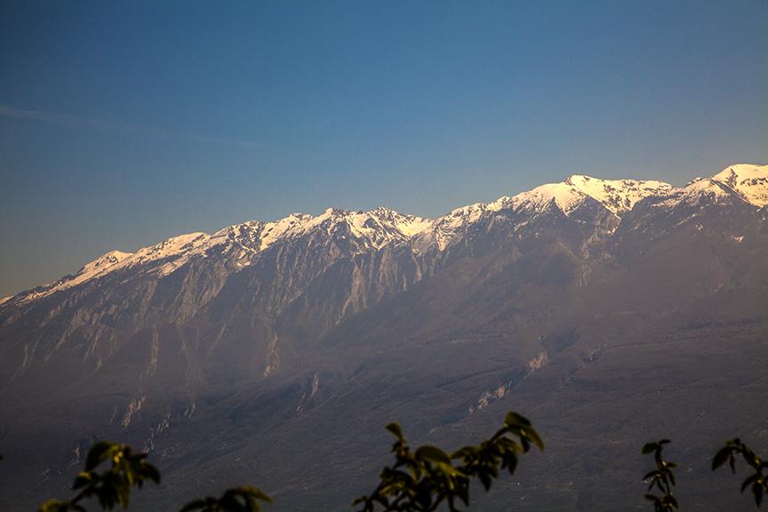 Mountains rising above the eastern shore of lake Garda