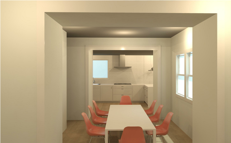 3D Render Image of the dining room view into the kitchen.