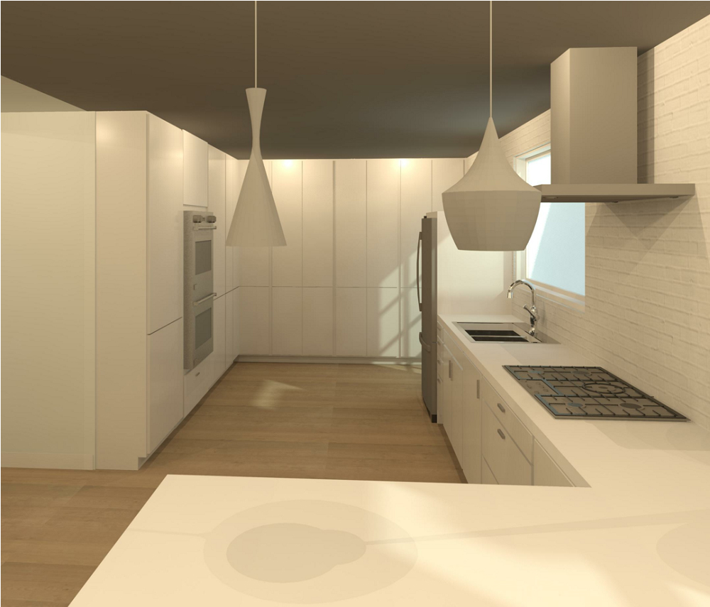 3D Render Image of the kitchen from the view of the new peninsula.