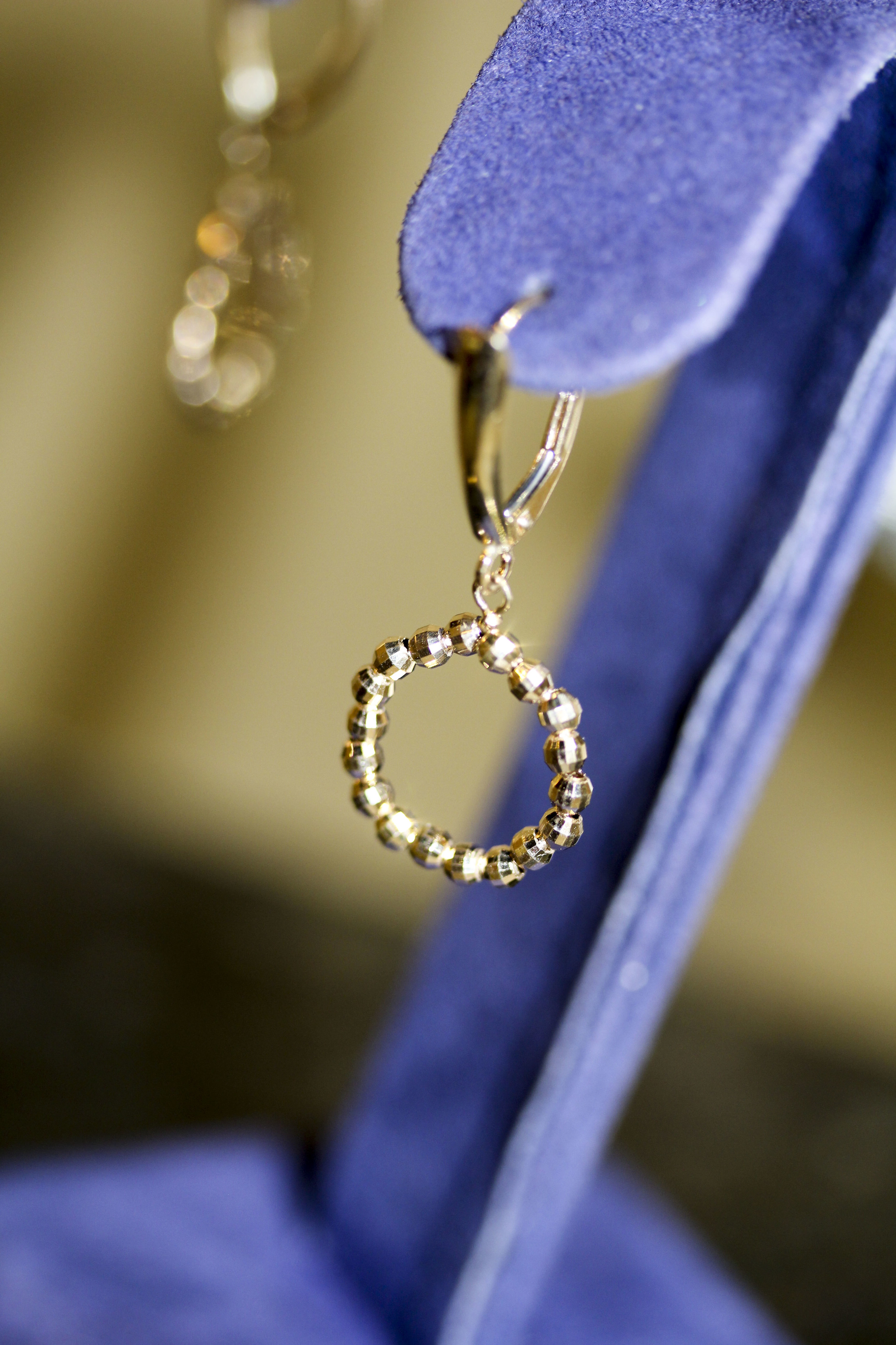 14k gold diamond cut beaded earrings