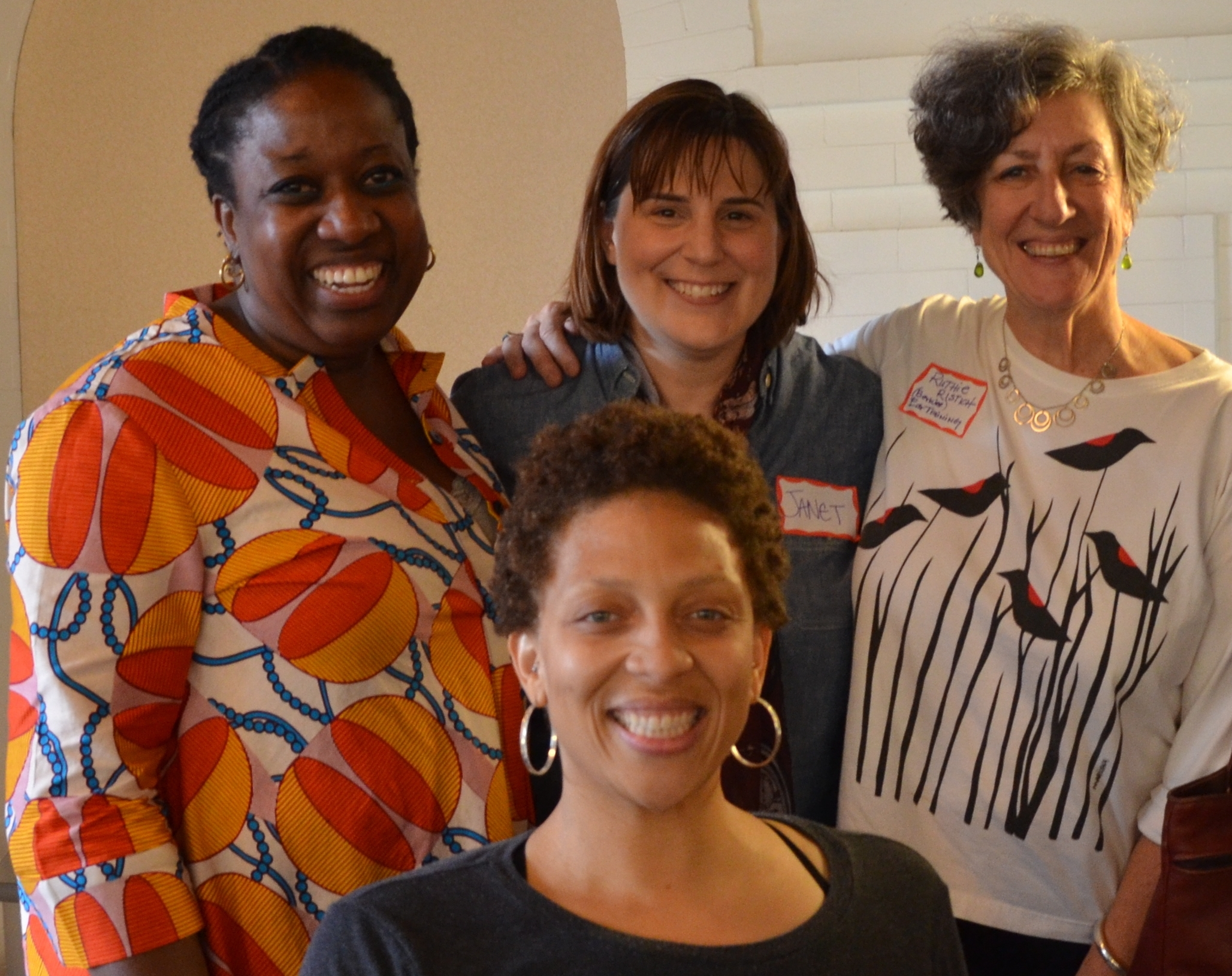 From the bell hooks discussion gathering. In back, Imani Wilson, Janet Chwalibog, and Ruthie Ristich. Madelyn Washington in front.