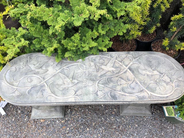 Antique finished hummingbird bench