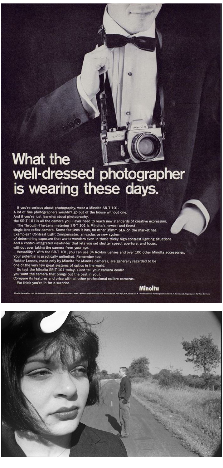 Image above:  An old Minolta SRT-101 Advertisement.    Image below:  A frame from a roll of Ilford HP5 shot by my 16 year old self.