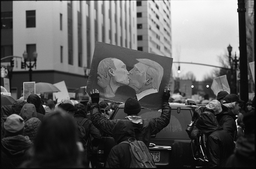 Photographed at the Women's March with an Olympus Trip 35 and Kodak Tri-X film.