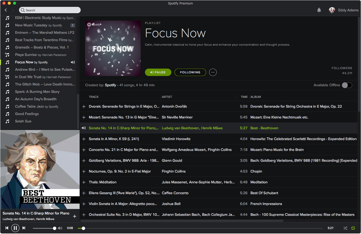 Use Spotify to pull up rich classical brain fuel.