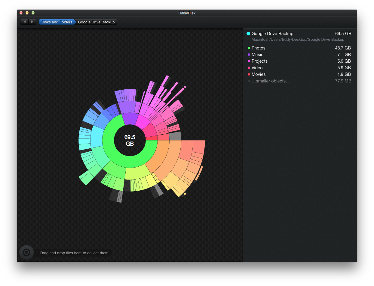 DaisyDisk shows exactly how much and where your files are.