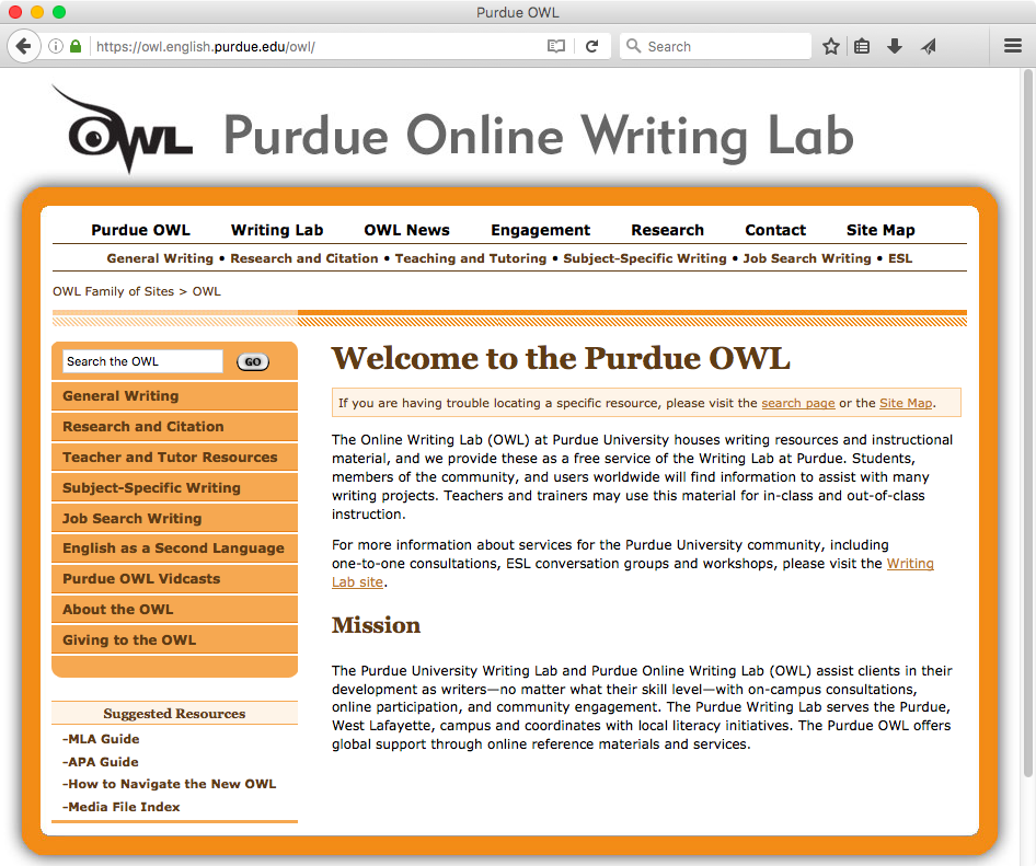 Purdue Online Writing Lab  (OWL): the greatest thing since sliced bread