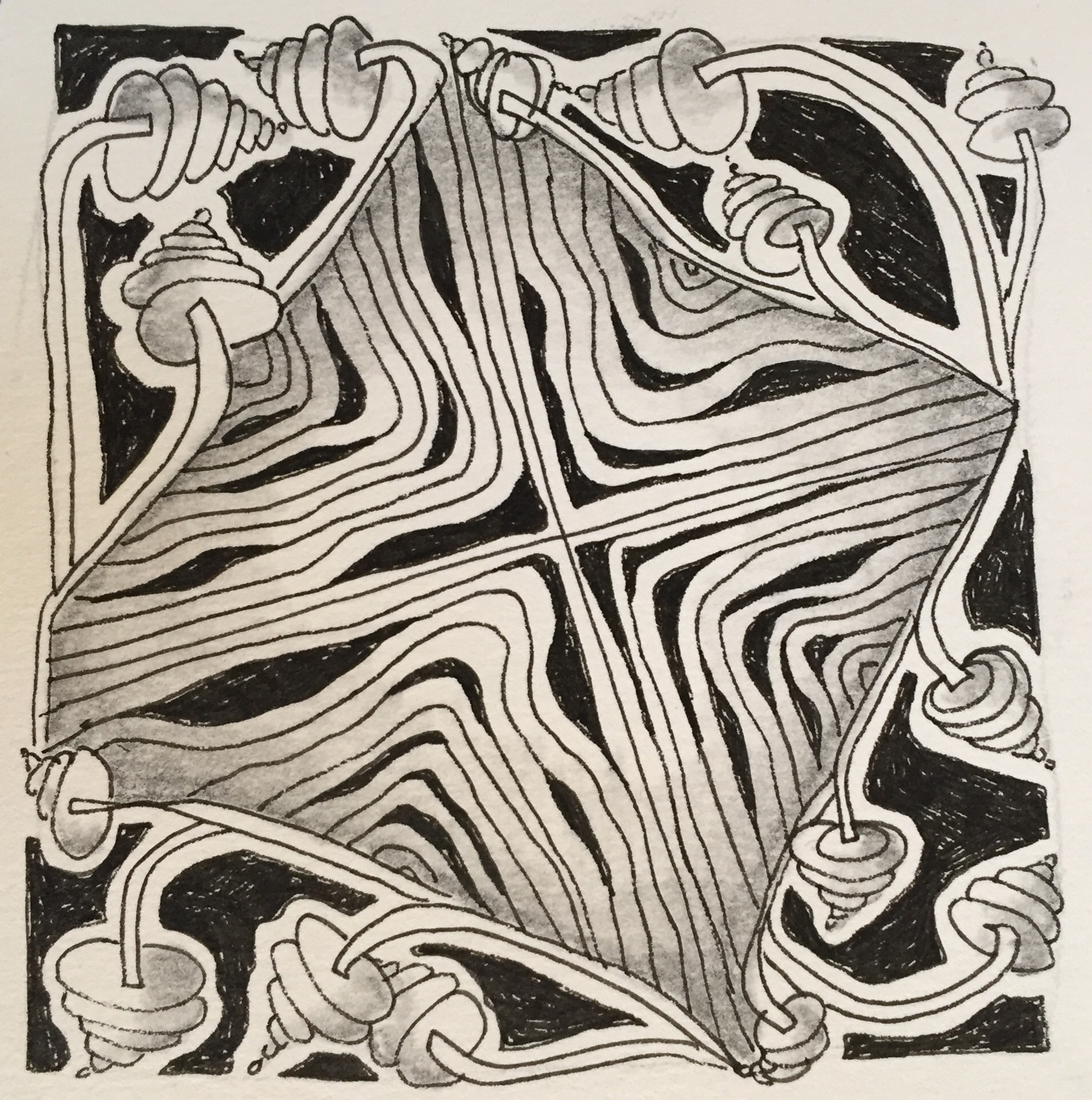 """paper, ink, graphite    3.5 x 3.5""""    This 3.5"""" squaretiles is inspired by the Zentangle method and the process of creating tangles serve as a method of relaxation.The Zentangle® method of drawing uses structured patterns to create a unique design.    available for sale"""