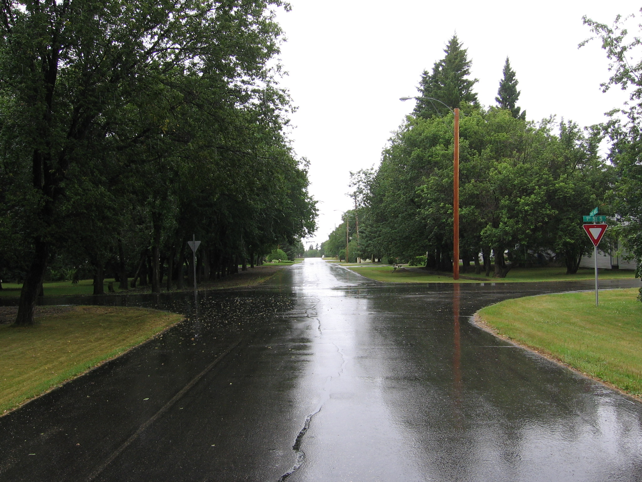 Rain-soaked street in Waldheim, Saskatchewan