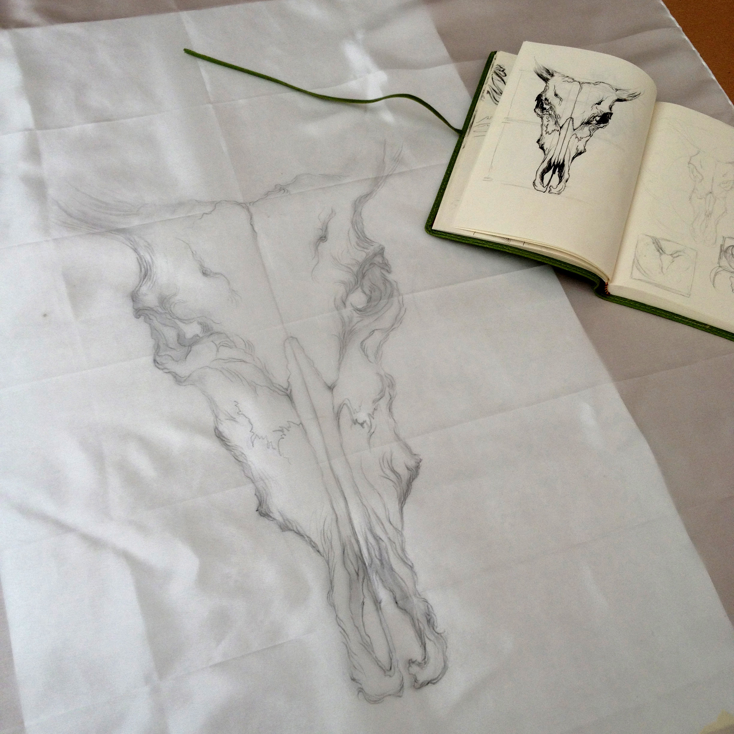 Drawing out initial design on the silk