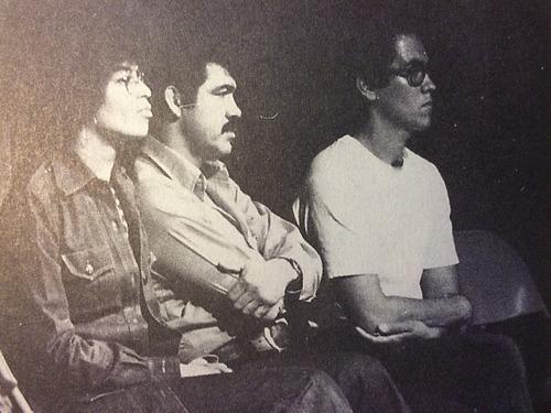 """Angela Davis, Rodolfo """"Corky"""" Gonzales, and Ernesto Vigil at Loretto Heights College in Denver, Colorado on April 28, 1973.   Photo: Pablo Castro"""