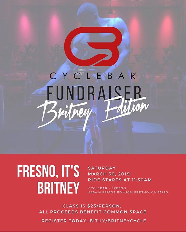 Our all Britney Spears themed @cyclebarfresno fundraiser is this Saturday! Have you reserved your bike yet? Reserve your bike today: bit.ly/britneycycle 💋 * You must reserve a bike online. No day of registrations will be taken