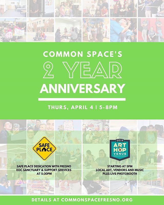 Join us for ArtHop tomorrow to celebrate @commonspacefresno's 2 Year Anniversary! 🌈