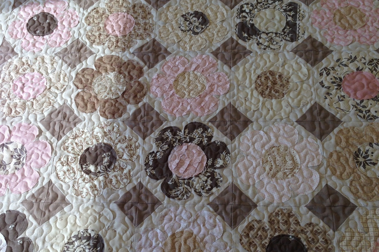 Meander - Our basic meandering pattern adds just the right amount of texture and looks great on most quilts.Default size is 2 cents per square inch (LxWx$.02)X-Large size is 1.5 cents per square inch (LxWx$.015)