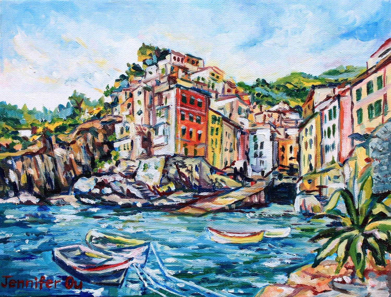 Riomaggiore, Cinque Terre, 9x12, oil