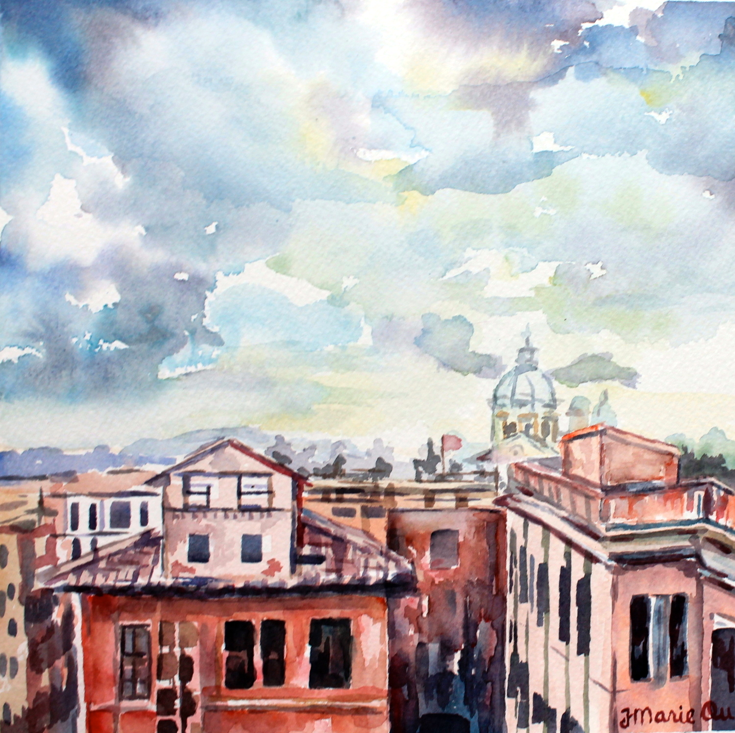 From the Spanish Steps (Rome), 8x8, watercolor. Sold