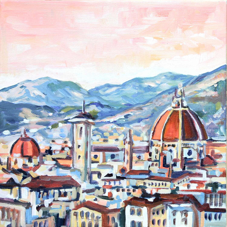 Sunrise in Florence (2015). 10x10, acrylic,