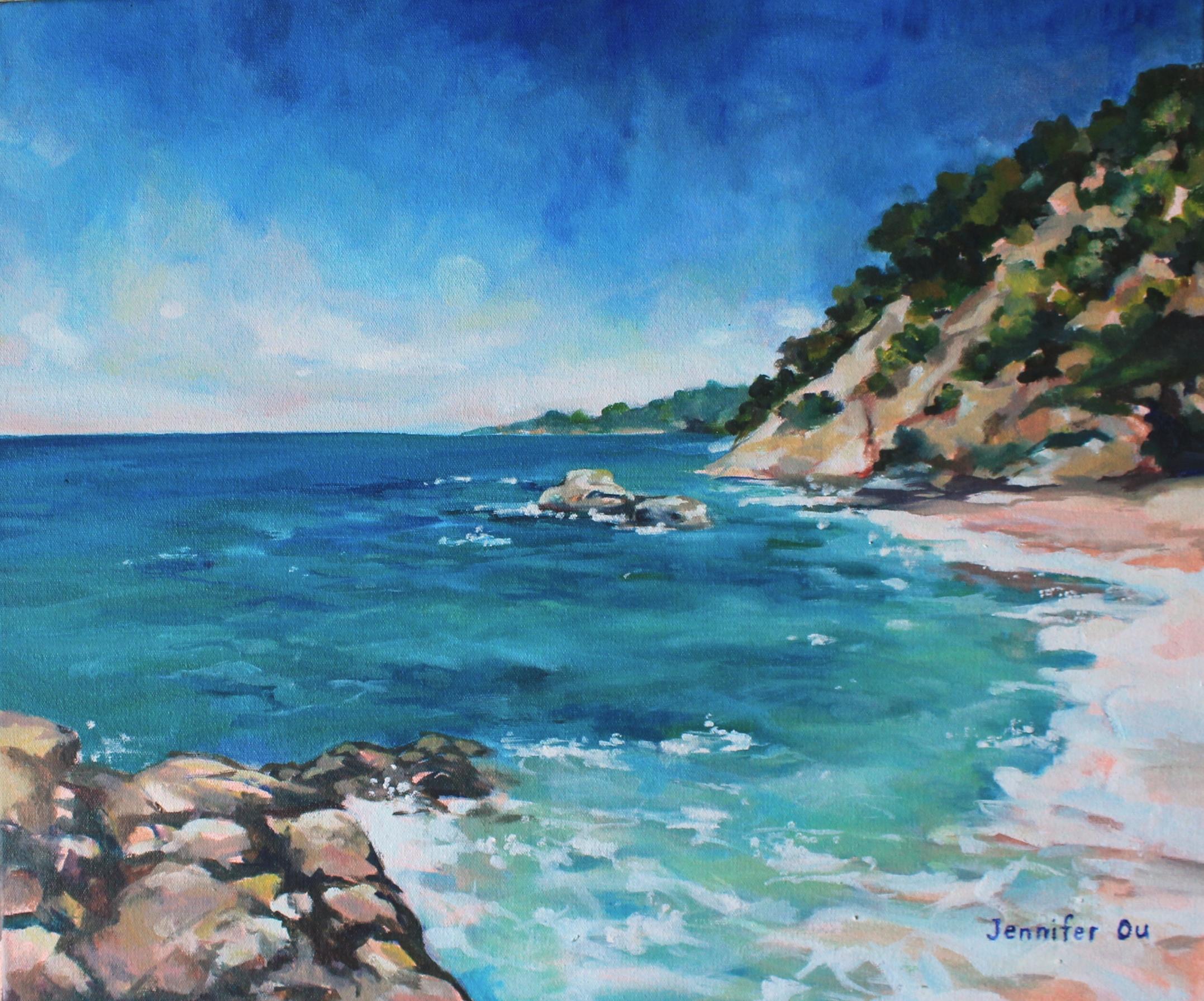 "Cove at Lloret de Mar  20x24"", oil on canvas. Available,"