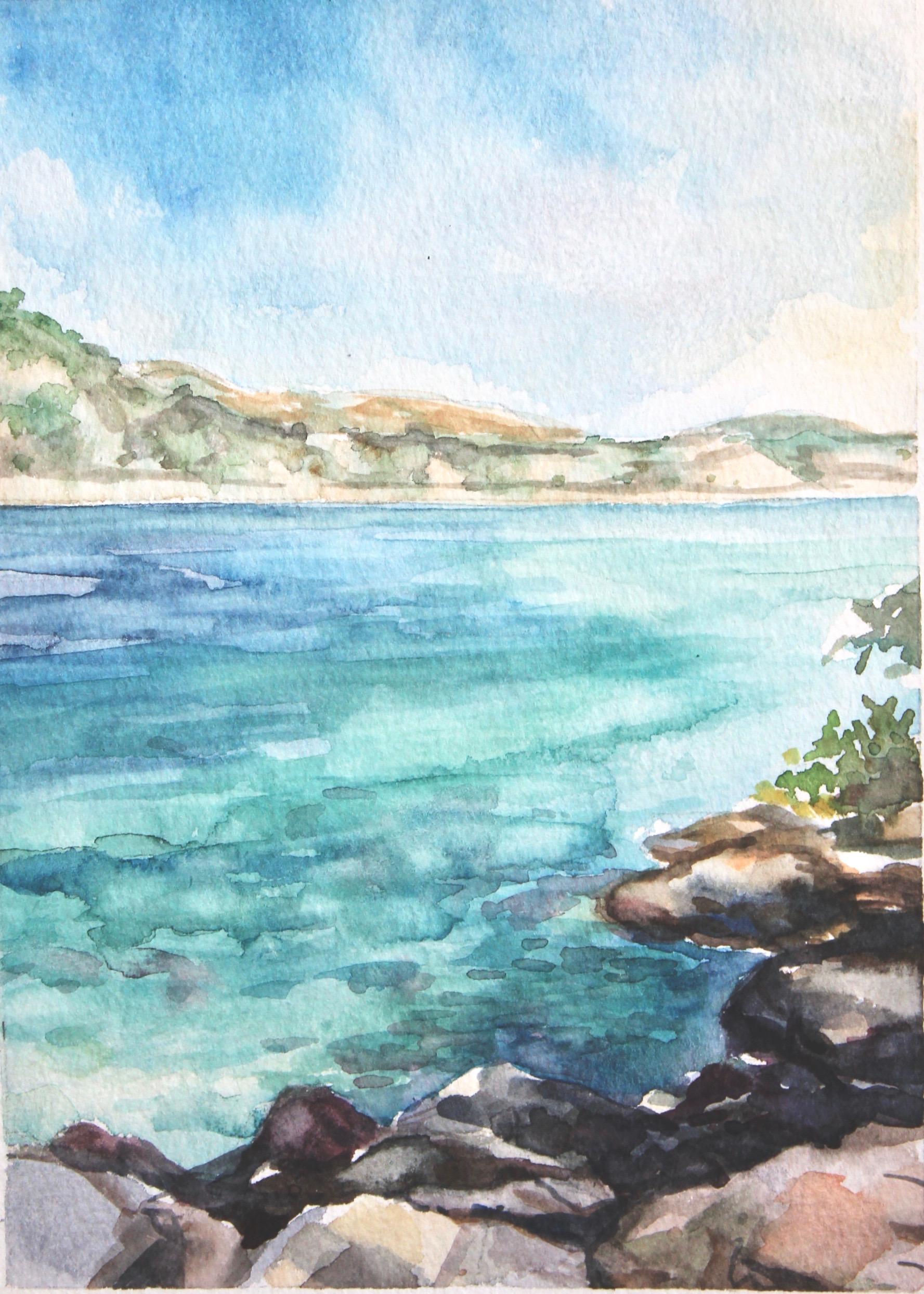 Island of Lokrum  5x7, watercolor. sold