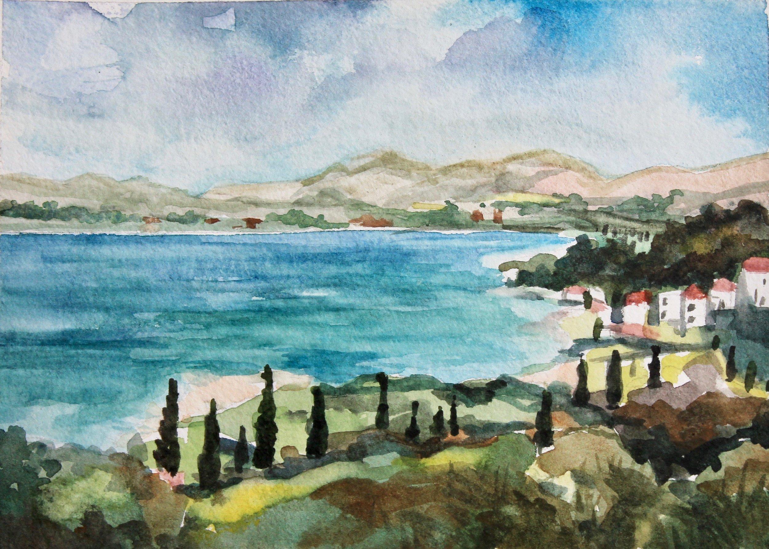 Croatian Coast  5x7, watercolor. Sold.