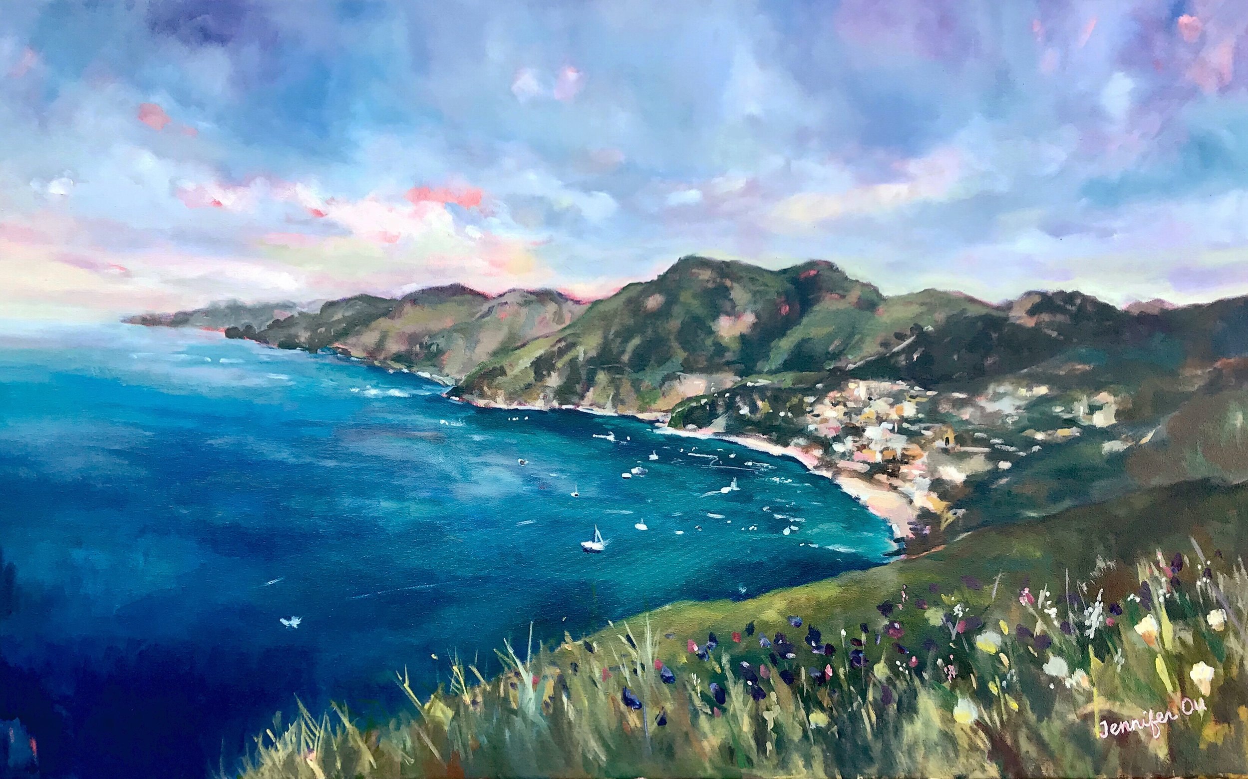 """View from Positano  25x40"""", oil on canvas. Sold."""