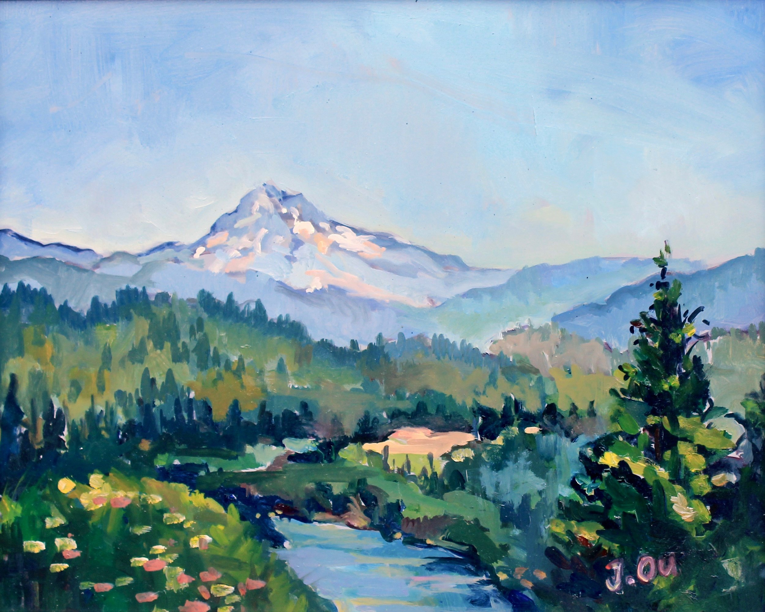 Mt. Hood (Oregon)  8x10, oil on panel. sold.
