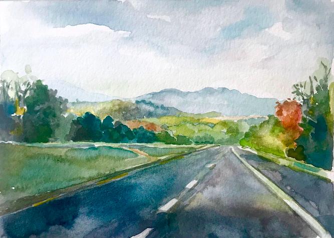 Back in Virginia  5x7, watercolor