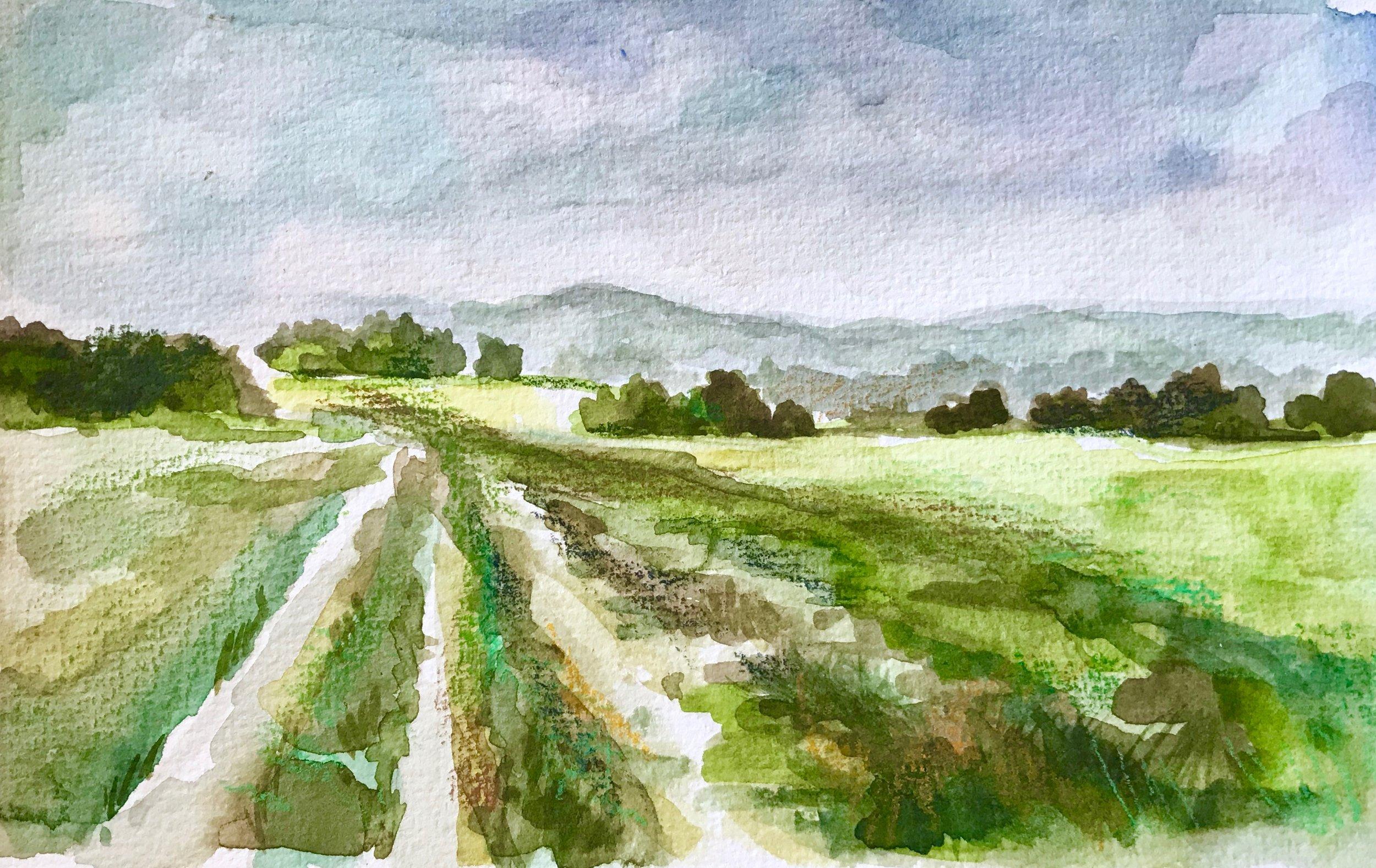 In Dorset  5x7, watercolor