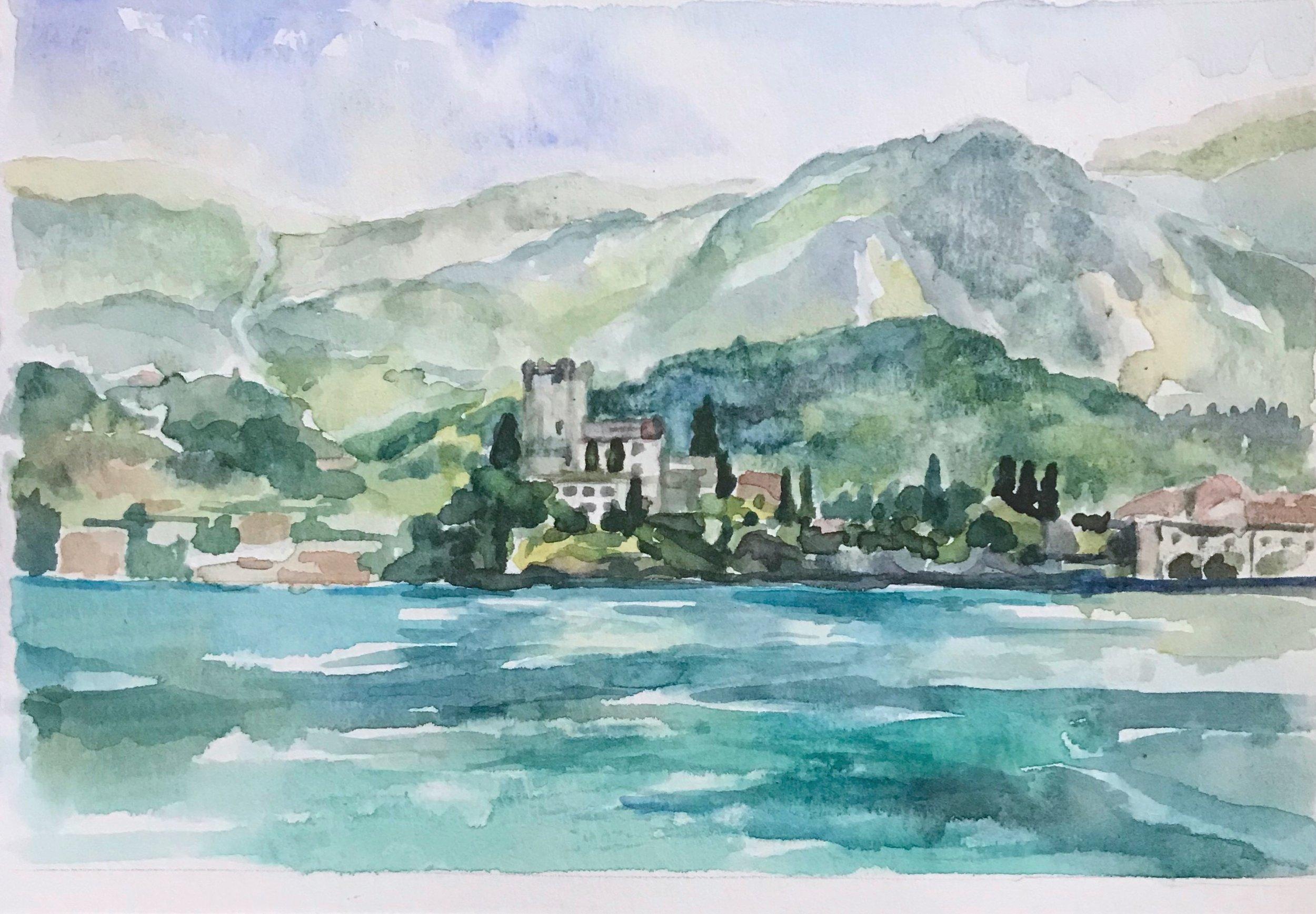 Summer at Lake Garda  8x10, watercolor. Available.