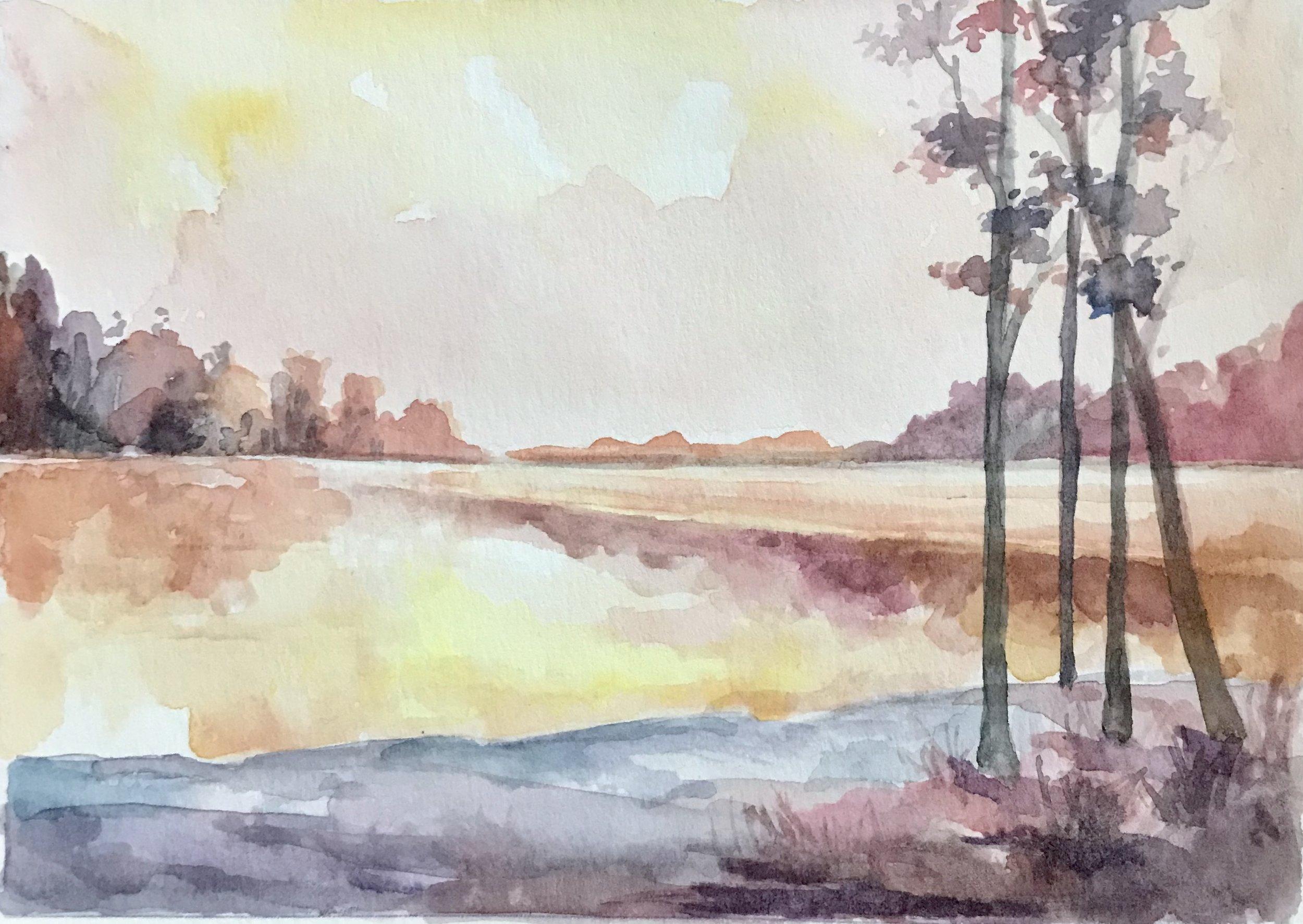 Serenity (no. 2)  5x7, watercolor. Sold.